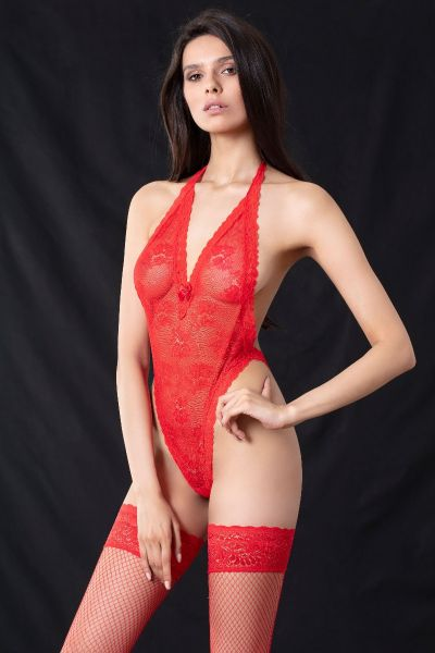 Body String Ελαστ.Δαντέλα Κόκκινο