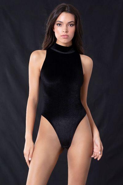 Body String Βελούδο Μαύρο