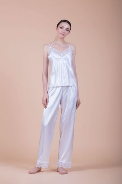 Πυζάμες σατέν, λευκές -9121W